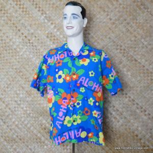 05a4740e5 Vintage Mens Go Barefoot Blue Hawaiian Aloha Shirt 1