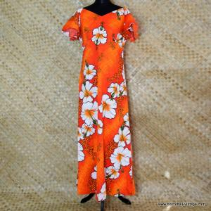75b7a8c53c65e 1960's Ladies Hawaiian Penneys Hawaii Orange Mumu Dress 1
