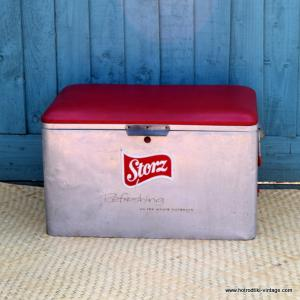 1960's Vintage Storz Red and Alluminum Ice Chest 1