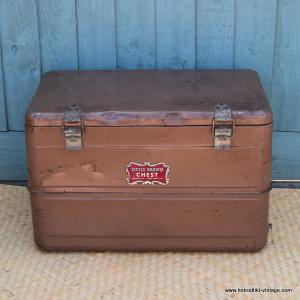 Vintage American Little Brown Chest Ice Chest 1