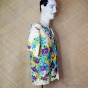 1960's Mens Vintage Kimos Cream Floral Hawaiian Shirt 3