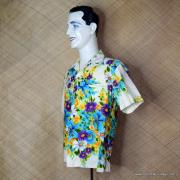 1960's Mens Vintage Kimos Cream Floral Hawaiian Shirt 4