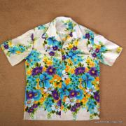 1960's Mens Vintage Kimos Cream Floral Hawaiian Shirt 8
