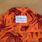1960's Mens Waikiki Wear by Duke of Hollywood Red Hawaiian Shirt 8