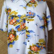 1960's Vintage Mens Broadway White Hawaiian Shirt 2