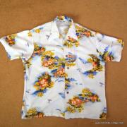 1960's Vintage Mens Broadway White Hawaiian Shirt 8