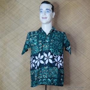 4130fb9c6 1960's Vintage Mens Paradise Green Hawaiian Shirt 1