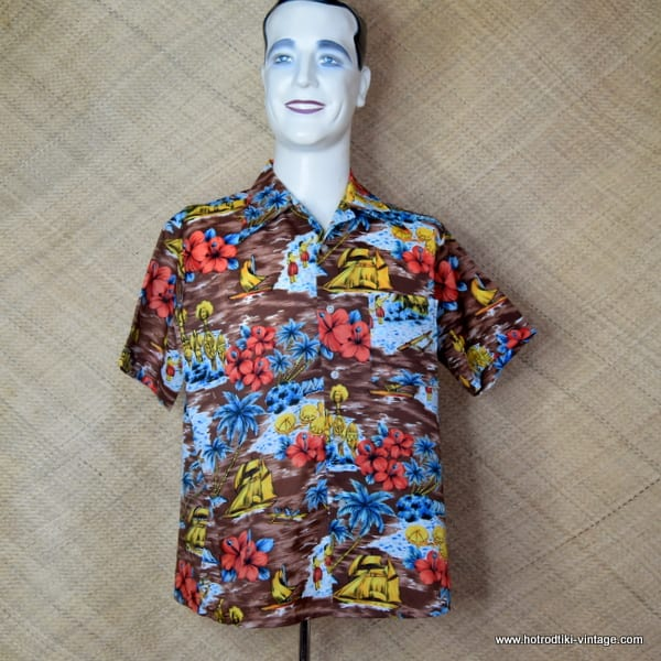 1970's Mens Kings oad by Sears Brown Hawaiian Shirt 1