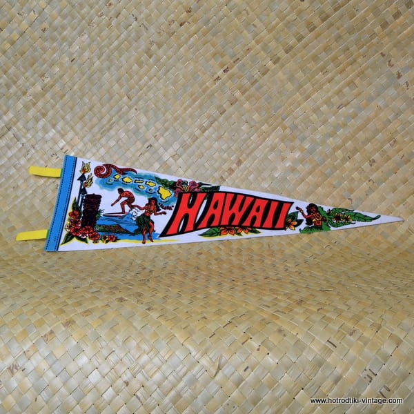 Vintage Hawaiian Pennant with Surfer & Tiki 1