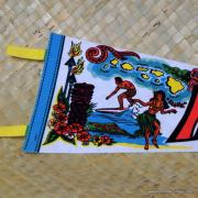 Vintage Hawaiian Pennant with Surfer & Tiki 2