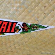 Vintage Hawaiian Pennant with Surfer & Tiki 4