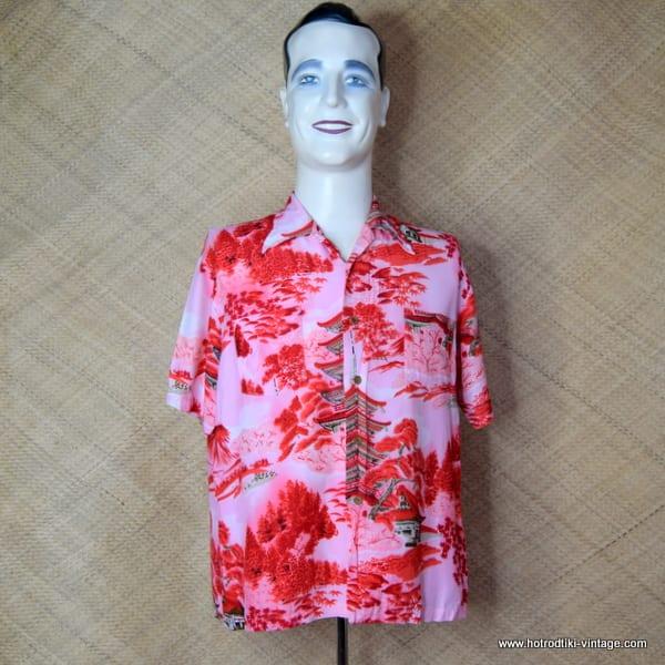 Vintage Mens Broadway Red Oriental Shirt 1