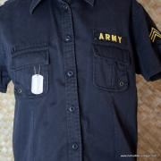Vintage Style US Army Black Short Sleeved Shirt 2