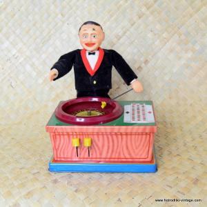 1960's Vintage Japan Roulette Man by Plaything Tin Toy 1