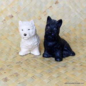 Vintage 1950's Pair of Black & White Whisky Dogs 1