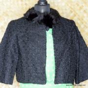 1950's Ladies Black Rabbit Fur Collared Styled by Winter Jacket 2