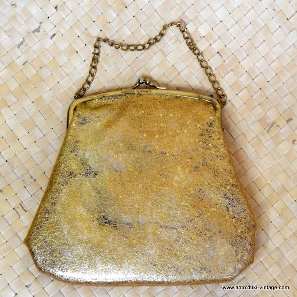 1950's Ladies Vintage American Gold Confetti Plastic Handbag 1