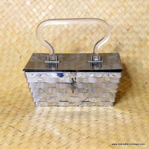 1950's Ladies Vintage Dorset Rex Metal Weave and Lucite Handbag 1
