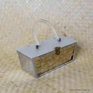 1950's Ladies Vintage Metal Weave and Lucite Handbag 1