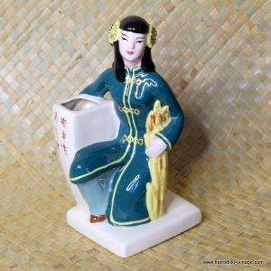 1950's Vintage Weil Ware Oriental Lady Planter in Green 1
