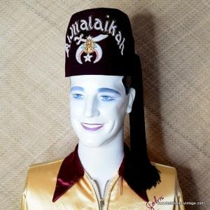 Vintage Mens Coloured Jewelled 'Al Malaikah' Shriners Fez 1