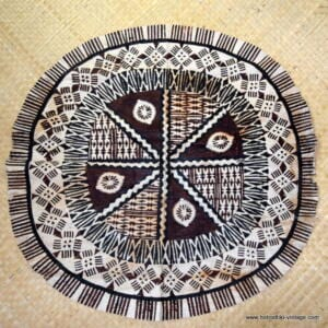 Vintage Round Piece of Tapa Cloth 1