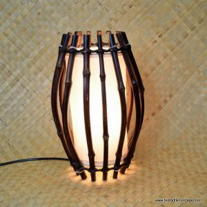 Vintage Style Bamboo Cylinder Shaped Lamp 1