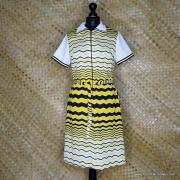 1960's Vintage Ladies Polyester Yellow & Black Striped Dress 1