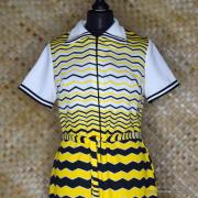 1960's Vintage Ladies Polyester Yellow & Black Striped Dress 2