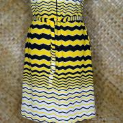 1960's Vintage Ladies Polyester Yellow & Black Striped Dress 3