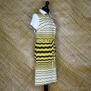 1960's Vintage Ladies Polyester Yellow & Black Striped Dress 4
