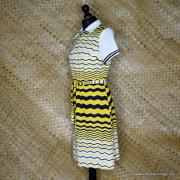 1960's Vintage Ladies Polyester Yellow & Black Striped Dress 5