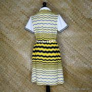 1960's Vintage Ladies Polyester Yellow & Black Striped Dress 6