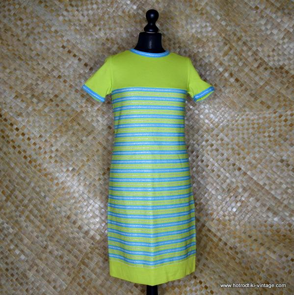 1960's Vintage Ladies R&K Knits Green Striped Dress 1