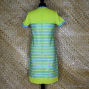 1960's Vintage Ladies R&K Knits Green Striped Dress 6