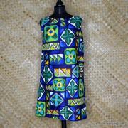1960's Ladies Hawaiian Paradise Blue Barkcloth Dress 1