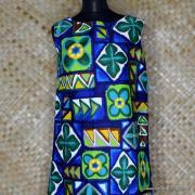 1960's Ladies Hawaiian Paradise Blue Barkcloth Dress 2