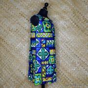 1960's Ladies Hawaiian Paradise Blue Barkcloth Dress 3