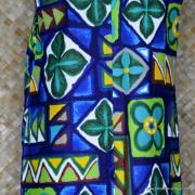 1960's Ladies Hawaiian Paradise Blue Barkcloth Dress 6