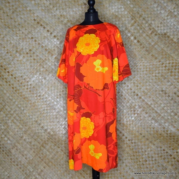 1960's Ladies Otaheite Hawaiian Orange Dress 1
