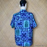 1960's Mens Go Barefoot Blue Tiki Hawaiian Shirt 6