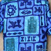 1960's Mens Go Barefoot Blue Tiki Hawaiian Shirt 7