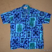 1960's Mens Go Barefoot Blue Tiki Hawaiian Shirt 8