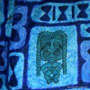 1960's Mens Go Barefoot Blue Tiki Hawaiian Shirt 9