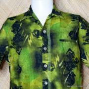 1960's Mens Iolani Green Hawaiian Shirt 2
