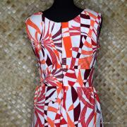1960's Vintage Polyester White & Red Dress 7