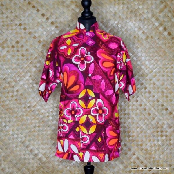 1960's Laies Purple Lauhala Hawaiian Blouse 1