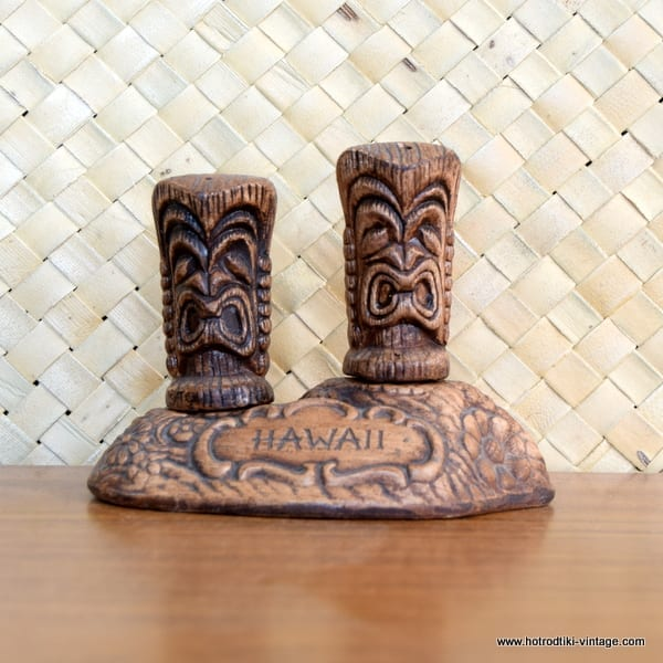 1960's Treasure Craft Tiki Salt & Pepper Set 1