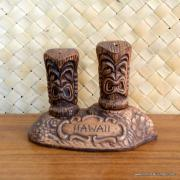 1960's Treasure Craft Tiki Salt & Pepper Set 2
