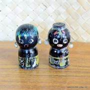 Vintage Japanese Wood Salt & Pepper Shakers 6